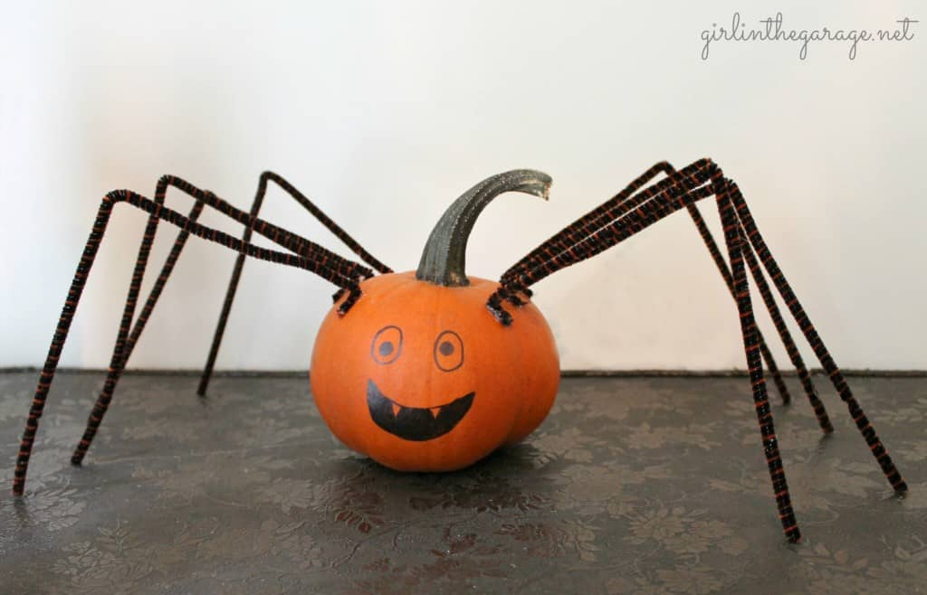 spider themed pumpkin design